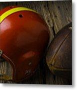 Football Helmet And Football Metal Print