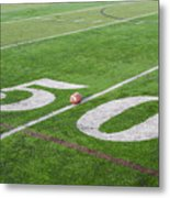 Football On The 50 Yard Line Metal Print