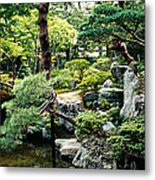 Footbridge Across A Pond, Kyoto Metal Print