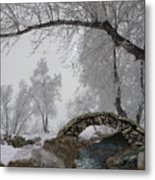 Footbridge Over The Creek Metal Print