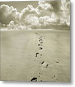 Footprints In Sand Metal Print