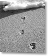 Footprints In The Sand Black And White Metal Print