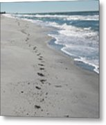 Footsprints In The Sand Metal Print