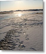 Footsteps In Frozen Landscape Metal Print