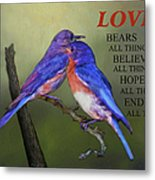 For Love Of Bluebirds And Scripture Metal Print