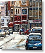 For Sale Original Paintings Montreal Petits Formats A Vendre Downtown Montreal Rue Stanley Cspandau  Metal Print