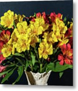 Foral Bouquet Of Red And Yellow Astomelia Metal Print