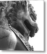 Forbidden City Lion - Black And White Metal Print