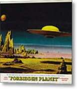 Forbidden Planet In Cinemascope Retro Classic Movie Poster Detailing Flying Saucer Metal Print
