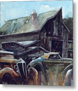 Ford Cabriolets Guard the Barn Metal Print