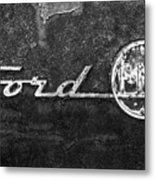 Ford F-100 Emblem On A Rusted Hood Metal Print