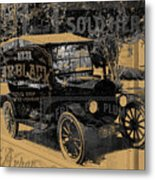 Ford Model T Made Using Found Objects Metal Print
