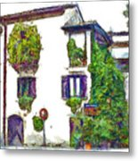Foreshortening Of House Covered With Climbing Plants Metal Print