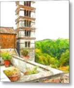 Foreshortening With Bell Tower And Wood Metal Print