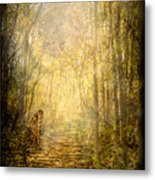 Forest Butterfly Moon Metal Print