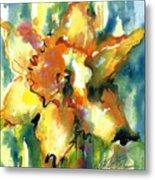 Forest Daffodil In Rain Metal Print