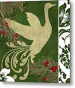 Forest Holiday Christmas Goose Metal Print