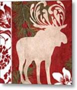 Forest Holiday Christmas Moose Metal Print