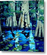 Forest In Water Metal Print
