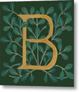 Forest Leaves Letter B Metal Print