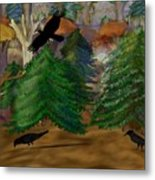 Forest Of Crows Metal Print