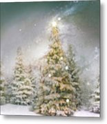 Forest Of Trees In Wintergreens Metal Print