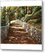 Forest Path White Cliff Metal Print