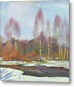 Forest River In Winter Metal Print