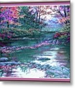 Forest River Scene. L B With Decorative Ornate Printed Frame. Metal Print
