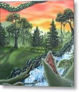 Forest Sunset Cascade Metal Print