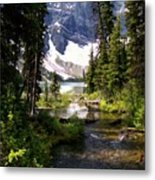 Forest View To Mountain Lake Metal Print