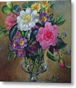 Forget Me Nots And Primulas In Glass Vase Metal Print