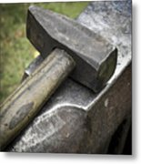 Forging Hammer On The Anvil Metal Print