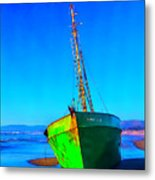 Forgotten Green Boat Metal Print