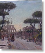 Fori Romani - Street To Colosseo Metal Print
