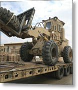 Forklift Is Unloaded Off Of A Logistics Metal Print by Stocktrek Images