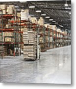 Forklift Moving Product In A Warehouse Metal Print