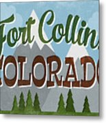 Fort Collins Colorado Snowy Mountains	 Metal Print