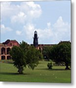 Fort Jefferson Parade Grounds And Harbor Light Metal Print