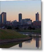 Fort Worth Skyline At Sunset Metal Print
