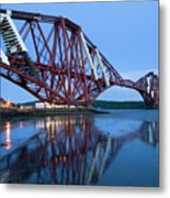 Forth Railway Bridge In Edinburg Scotland  Metal Print