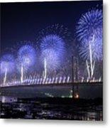 Forth Road Bridge Fireworks Metal Print