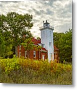 Forty Mile Point Lighthouse Lake Huron Lower Peninsilat Mi  Metal Print
