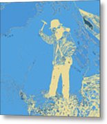 Fossil Hunter Blue Yellow Metal Print