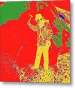 Fossil Hunter Red Yellow Green Metal Print