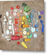 Found Items Rainbow Metal Print
