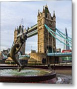 Fountain And Bridge Metal Print