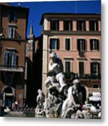 Fountain Depicting Neptune The Piazza Navona The Spire Of The Church Of Santa Maria Della Pace Rome Metal Print