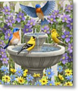 Fountain Festivities - Birds And Birdbath Painting Metal Print