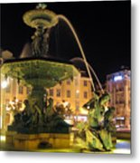 Fountain In Rossio Square Metal Print